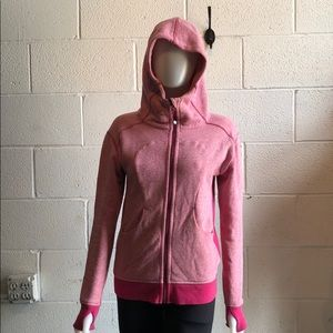 Lululemon pink zip up sweatshirt w/ hood sz 6